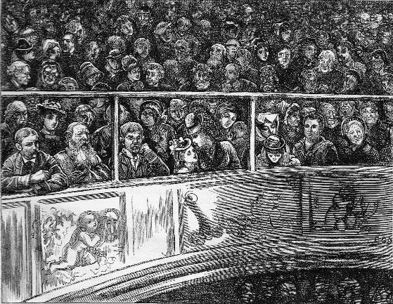 Edward G. Dalziel, 'A Cheap Theatre, Sunday Night', illustrating The Uncommercial Traveller, 1877 edition