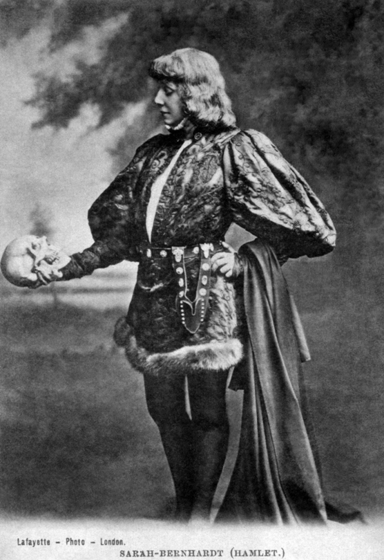 Postcard of Sarah Bernhardt as Hamlet, via Wikimedia Commons